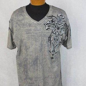 Raw State Redemption Cross Wings Gray Graphic Tee